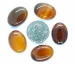 5pc. Lot Carnelian 25x18mm Flat Backed Gemstone Cabochon S2173B