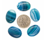 5pc. Lot of 25x18mm Dyed Blue Green  Banded Agate Cabochon Oval Flat Back gem stone S2182