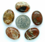 5pc. Lot of 25x18mm Natural Brecciated Jasper loose oval Flat Back Cabochons S2183C