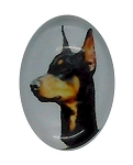 18x13mm Doberman Pinscher Dog Glass Cabochon Cameo Jewelry Finding S2191