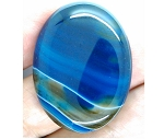 40x30mm Teal Blue Dyed Banded Agate Oval Flat Back Cabochon S2196A