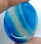 40x30mm Blue Dyed Banded Agate Oval Flat Back Cabochon S2196C