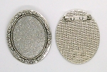 40x30mm Antique Silver Cabochon Cameo Brooch Setting with Pin S2198