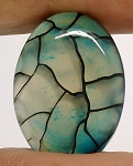 25x18mm Dyed Blue Dragons Vein flat back oval crackle agate Cabochon S2199