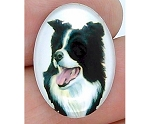 25x18mm Border Collie Dog Glass Cabochon Cameo Jewelry Finding S2216