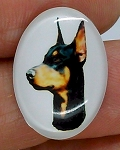 25x18mm Doberman Pinscher Dog Glass Cabochon Cameo Jewelry Finding S2223