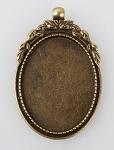 40x30mm Antique Bronze Cabochon Pendant Frame Setting with Large Bail S2225