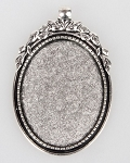 40x30mm Antique Silver Cabochon Pendant Frame Setting with Large Bail S2226