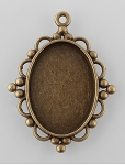 25x18mm Antique Bronze cabochon cameo pendant Setting with Loop S2227