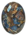 40x30mm Deep Blue Copper Matrix Collage Stone Oval Loose Cabachon Cab  S4000