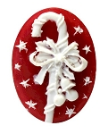 25x18mm Christmas Holiday Candy Cane Red White Resin Cameo Cabochon S4003