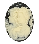 25x18mm Black Ivory Twins Sisters Women Girl Friends Resin Cameo S4009