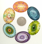 6pcs. Mixed Lot 40x30mm Glass Designer Kaleidoscope Pattern Cabochons Flat back S4025