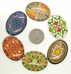 6pcs. Mixed Lot 40x30mm Glass Designer Kaleidoscope Pattern Cabochons Flat back S4026