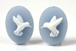18x13mm Resin Cameo Hummingbird matched pair of blue white s4030