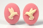 18x13mm Resin Cameo Hummingbird matched pair of pink ivory s4031