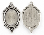 40x30mm Antique Silver Cabochon Pendant Frame Setting S4034