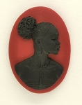 25x18mm African American Black Woman Resin Cameo Cabochon Red S4040