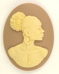 40x30mm African American Black Woman Resin Cameo Cabochon Tan Ivory S4042