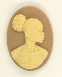 25x18mm African American Black Woman Resin Cameo Cabochon Tan Ivory S4043
