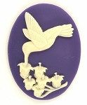 40x30mm Hummingbird Lily of the Valley Purple Crème Resin Cameo Cabochon S4045