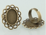 18x13mm Antique Bronze Ring Blank glue in ring setting S4048