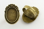 18x13mm Antique Bronze Ring Blank glue in ring setting S4051