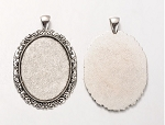 40x30mm Antique Silver Cameo or cabochon Pendant Setting with large bail S4052