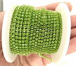 1 YARD 2mm Bright Green Rhinestone Chain Crystal Trim Cup Chain S4055