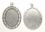 40x30mm Antique Silver Cabochon Pendant Frame Setting with Large Bail S4062