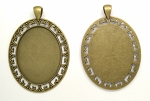 40x30mm Antique Bronze Cabochon Pendant Frame Setting with Large Bail S4063