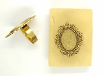 18x13mm Antique Gold Ring Blank glue in ring setting S4072