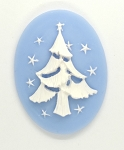 40x30mm Holiday Christmas Tree Resin Cabochon Cameo Blue White S4074