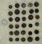 Antique Victorian Buttons 30pcs. Metal Buttons Flowers Designs B561