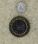 Antique Victorian Button 1pc Metal Picture Button Castle B563