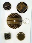 Vintage Bakelite Buttons 5pcs. Celluloid Carved Deco Coat Buttons B565