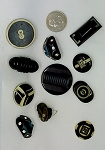 Vintage Bakelite Buttons 11pcs. Celluloid Carved Deco Coat Buttons B568