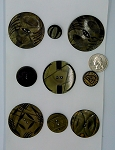Vintage Bakelite Buttons 9pcs. Celluloid Carved Deco Coat Buttons B569