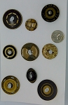 Vintage Bakelite Buttons 9pcs. Celluloid Carved Deco Coat Buttons B581