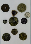Vintage Bakelite Buttons 9pcs. Celluloid Carved Deco Coat Buttons B582