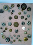 Collectors Card of Vintage Buttons Modern Metal Flowers B589
