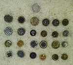 Victorian Metal Antique Buttons 24pcs. Mostly Flowers B595