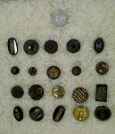 Victorian Buttons antique black glass luster 20pcs. B600