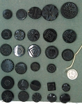 29 Black Glass Antique Buttons b609