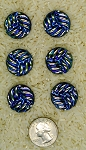6pc Glass Button Set aurora borealis 23mm made in czechoslovakia sewing button B625