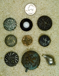 9pcs. Antique Button Victorian Button Large Metal Vintage Button B634