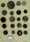 20 Silver Luster Black Glass Antique Buttons victorian vintage button B636
