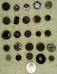 25 Silver Luster Black Glass Antique Buttons victorian button collecting B642