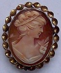 Real Italian Shell Cameo Pin and Pendant Vintage Hand Caved 12kt Gold Filled F105