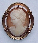 Marvel 12k Gold Filled Italian Genuine Shell Vintage Cameo Brooch Pendant F110